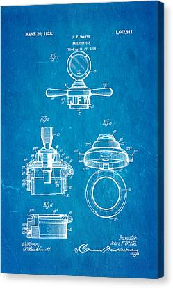 White Radiator Cap Patent Art 1928 Blueprint Canvas Print by Ian Monk