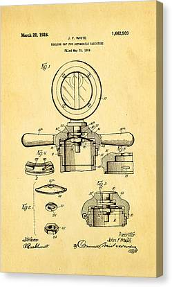 White Radiator Cap Patent Art 2 1928 Canvas Print by Ian Monk