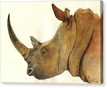 White Rhino Head Study Canvas Print by Juan  Bosco