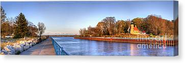 White River Lighthouse And Channell Canvas Print by Twenty Two North Photography