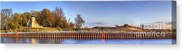 White River Lighthouse And Shoreline Canvas Print