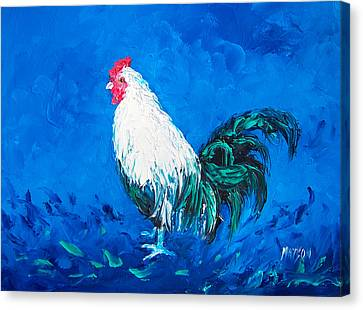 Rooster Canvas Print - White Rooster For A Blue Kitchen by Jan Matson