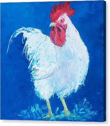 White Rooster On Blue Canvas Print