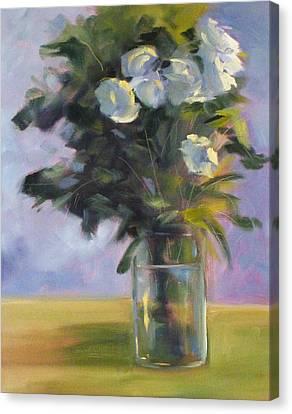 White Roses Canvas Print by Nancy Merkle