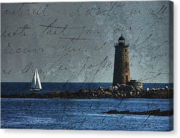 Canvas Print featuring the photograph White Sails On Blue  by Jeff Folger