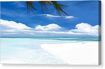 Canvas Print featuring the digital art White Sand And Turquoise Sea by Anthony Fishburne