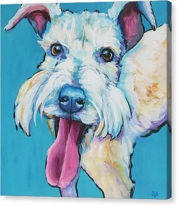White Schnauzer Goes Gonzo Canvas Print by Janet Burt