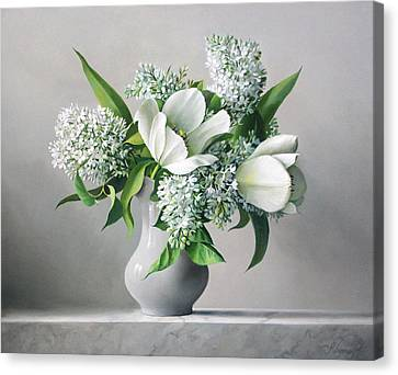 White  Sprintime  Flowers Canvas Print by Pieter Wagemans