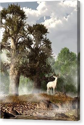 White Stag On A Misty Morning Canvas Print by Daniel Eskridge