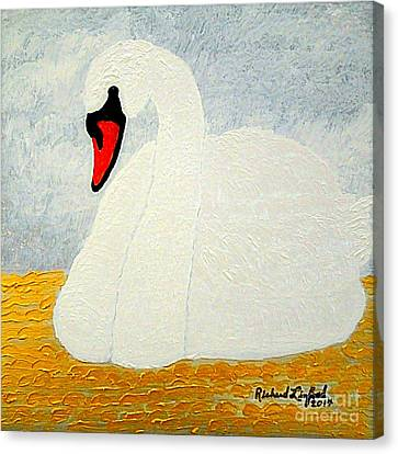White Swan Lake Canvas Print by Richard W Linford