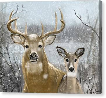 White Tail Winter Canvas Print by Eric Smith