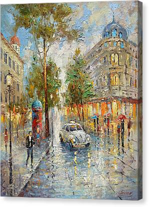 White Taxi Canvas Print by Dmitry Spiros