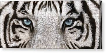 White Tiger Eyes Painting Canvas Print by Rachel Stribbling
