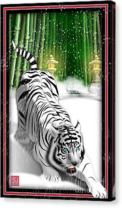 White Tiger Guardian Canvas Print by John Wills