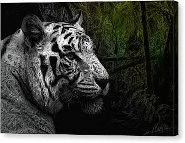 White Tiger Canvas Print by Marina Likholat