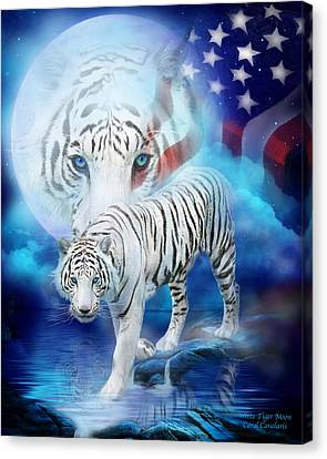 White Tiger Moon - Patriotic Canvas Print by Carol Cavalaris