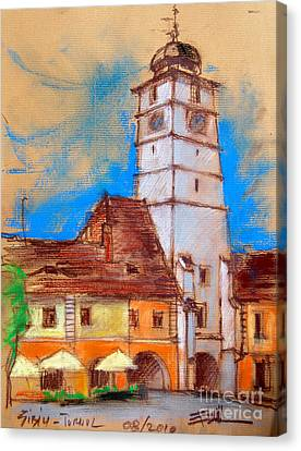White Tour In Sibiu Canvas Print by Mona Edulesco
