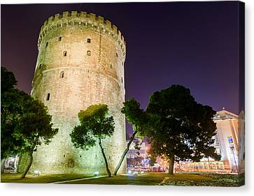 White Tower In Salonica Greece Canvas Print by Sotiris Filippou