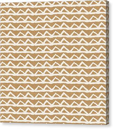 White Triangles On Burlap Canvas Print by Linda Woods
