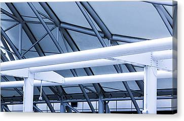 White Tube Blue Tube Canvas Print