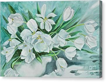 White Tulips Canvas Print by Virginia Ann Hemingson