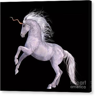 White Unicorn Black Background Half Rear Canvas Print by Elle Arden Walby
