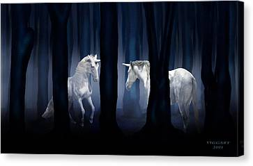 White Unicorns Canvas Print by Virginia Palomeque