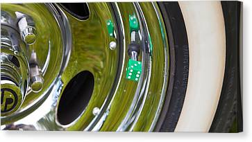 White Wall Tyre Chrome Rim And Dice Canvas Print by Mick Flynn