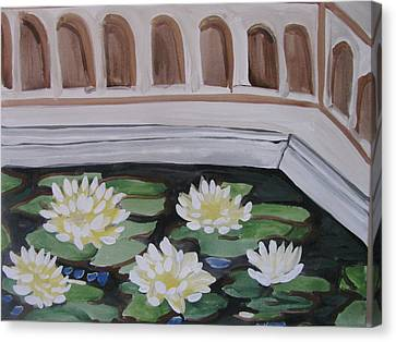 Canvas Print featuring the painting White Water Lilies by Vikram Singh