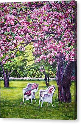 White Whicker Chairs Canvas Print by Linda Vaughon