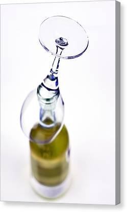 Fill Canvas Print - White Wine And Glass by Tommytechno Sweden