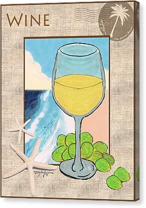 White Wine Beachside Canvas Print by William Depaula