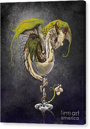 Wine Glasses Canvas Print - White Wine Dragon by Stanley Morrison