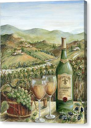 Glass Of Wine Canvas Print - White Wine Lovers by Marilyn Dunlap