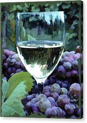 White Wine Reflections Canvas Print by Elaine Plesser