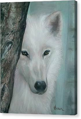 Silver Moonlight Canvas Print - White Wolf Portrait - Blue Light by ean R Brown - Terri Brown Guerra