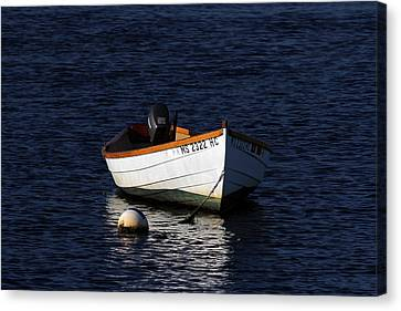White Wooden Dinghy At Pamet Harbor On Cape Cod Canvas Print by Juergen Roth