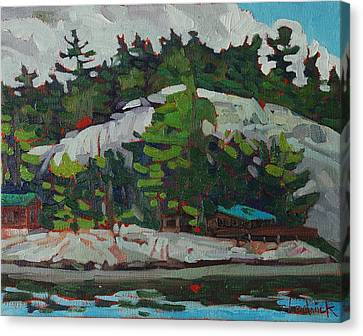 Whitefish River Cottages Canvas Print by Phil Chadwick