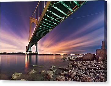 Canvas Print featuring the photograph Whitestone Bridge by Mihai Andritoiu