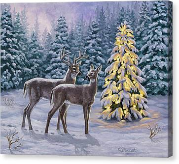 Snowy Night Night Canvas Print - Whitetail Christmas by Crista Forest