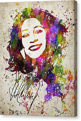 Rhythm And Blues Canvas Print - Whitney Houston In Color by Aged Pixel