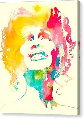 Whitney Houston Watercolor Canvas Canvas Print by Dan Sproul