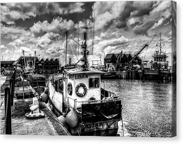 Trawler Canvas Print - Whitstable Harbour Mono by Ian Hufton