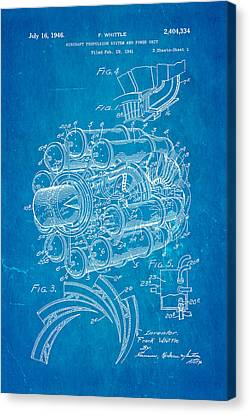 Mechanics Canvas Print - Whittle Jet Engine Patent Art 1946 Blueprint by Ian Monk