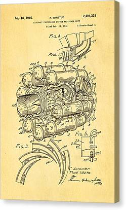 Whittle Jet Engine Patent Art 1946 Canvas Print by Ian Monk