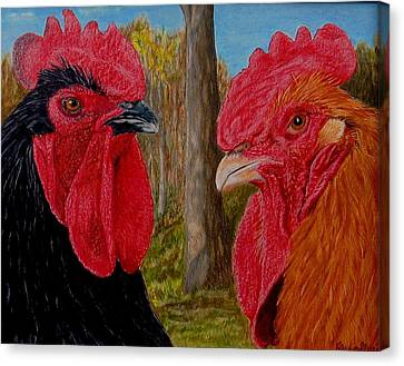 Canvas Print featuring the painting Who You Calling Chicken by Karen Ilari