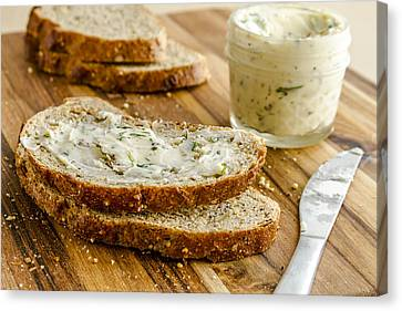 Whole Grain Bread And Herb Butter Canvas Print