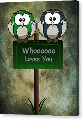 Canvas Print featuring the digital art Whoooo Loves You  by David Dehner