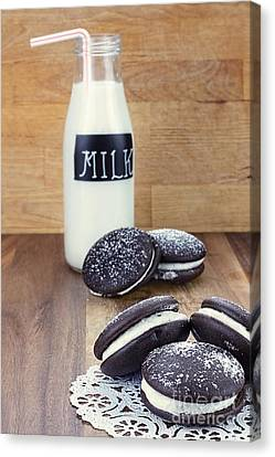 Whoopie Pies Or Moon Pies And Milk Canvas Print by Stephanie Frey