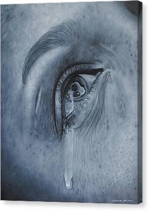 Canvas Print featuring the painting Why Is She Crying by David Dunne